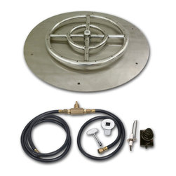 """American Fireglass - Round Gas Fire Pit Tray with Spark Ignition Kit, 30"""" Dia, Natural Gas Version - ROUND FLAT PAN  & SPARK IGNITION KIT"""