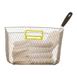 Design Ideas - Net Mesh Storage Basket - Meet the Net. Cool wire storage baskets, accented with green silicone handles. Store towels, cleaning supplies, hangers, balls, water bottles or odds and ends in the garage.