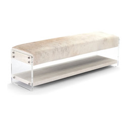Kathy Kuo Home - Winona Hollywood Regency Modern Deco Acrylic Hide Bench with Shelf - Combining modern and rustic, this eclectic bench will have even the most diverse groups sitting in comfortable agreement. Each seat is upholstered with unique hide, varying in color and shade from cream to grey. Clear, polished acrylic forms a lower shelf for storage on the base of the bench and lends an open, airy feel to this stylish seating.