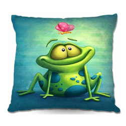 DiaNoche Designs - Pillow Woven Poplin - The Frog II - Toss this decorative pillow on any bed, sofa or chair, and add personality to your chic and stylish decor. Lay your head against your new art and relax! Made of woven Poly-Poplin.  Includes a cushy supportive pillow insert, zipped inside. Dye Sublimation printing adheres the ink to the material for long life and durability. Double Sided Print, Machine Washable, Product may vary slightly from image.
