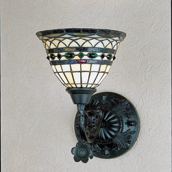 Meyda Tiffany - Meyda Tiffany Roman Tiffany Wall Sconce X-09372 - Inspired by century old patterns, this Roman Tiffany Wall Sconce wanted to create a lighting source that featured a modern, up-to-date century old pattern. Using the same colors, patters and craftsmanship, Meyda Tiffany created this design using an Antique finish and a beautifully mosaic glass shade with the rich colors of Mauve, Green, Blue, Purple, Brown and Beige. This light would fit beautifully in any elegant room.