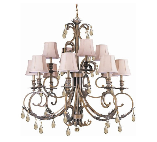 Crystorama - 12-Lights Golden Teak Hand Cut Crystal Chandelier - Golden teak hand cut crystal wrought iron chandelier.