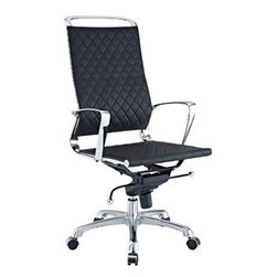 """LexMod - Vibe Highback Office Chair in Black - Vibe Highback Office Chair in Black - Instill some panache to your office with a chair that says it all. Vibes modern style reverberates from start to finish. From its diamond patterned leather seat and back, to its high polished chrome frame, if ever there was a chair that turned seating into an artform it would be Vibe. Conveniently adjust your seating position with an easy to use seat tilt lever.The five-star hooded chrome base comes fitted with casters appropriate for any floor. Vibe is also height adjustable with its powerful pneumatic lift. The upward angle of the arms both adds to the distinguished nature of the piece, and helps you properly position your wrists for typing. The chair also comes fully equipped with a tension knob that allows you to personalize the back tilt to fit your particular build and posture. Vibe works just as well in smaller spaces as it does in spacious conference rooms. If youre looking for a modern chair with a bit of vivacity to it, then youve found your match. Set Includes: One - Vibe Modern Leather Highback Office Chair Perfect modern office chair, Chrome metal frame, Recline at any angle, Tension knob for tilt control, Pneumatic height adjustment, Chair Weight Capacity - 330 lbs. Overall Product Dimensions: 19""""L x 28.5""""W x 39.5 - 42""""H Seat Height: 18""""L x 19""""W x 19.5 - 22""""H Armrest: .5""""W x 27.5 - 30""""HBACKrest Height: 28""""H - Mid Century Modern Furniture."""