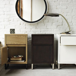 Hudson Nightstand - A mix of wood and metal make for a clean, functional bedside-friendly design with a contemporary presence. The spacious top drawer and bottom cabinet allow for plenty of storage, and narrow metal legs lighten the look.