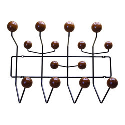 Eames Hang it All Hanger, Brown - This is a fun and creative hanger for anywhere around your house. You can hang it in the foyer, the hallways, kid's bedroom, the living room, dinning room. Basically anywhere around the house is suitable since it is modern and nicely compatible with all your modern furniture.