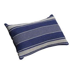 PillowFever - Lumbar Navy Blue Pillow in Off White Stripes Cotton Navy Blue Pillow - Pillow insert is not included!