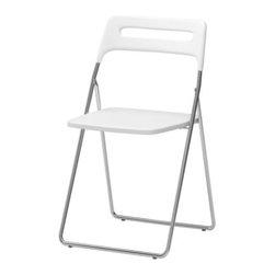 Lisa Norinder - NISSE Folding chair - Folding chair, high gloss white, chrome plated