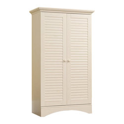 Sauder - Sauder Harbor View Storage Cabinet in Antiqued White - Sauder - Armoires - 400742 - Rustic and warm this storage cabinet from the Sauder Harbor View collection will bring great style to any room.  Behind two beautifully lover-detailed doors hidden storage compartments with four adjustable shelves provide plenty of room for clothes or other items.  A full upper shelf gives additional storage space.  Wood knobs bring the traditionally handcrafted feel to this armoire.  Finished in a beautiful antiqued white there is no doubt that this storage cabinet  will be a staple in your child's bedroom master bedroom or guest room for years to come.Features:
