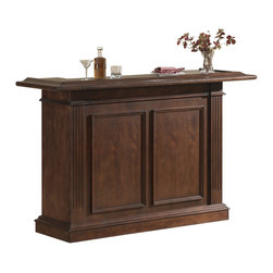 None - Sylvester Bar in Brown Maple - The Sylvester Bar is finished in brown maple with brushed steel accent hardware. This stylish home bar features glass stemware holders,wine racks,and plenty of storage shelving.