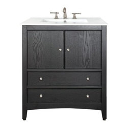 Avanity Westwood 30-in. Dark Ebony Single Bathroom Vanity with Sink - Clean up your morning routine with the clean-lined Avanity Westwood 30-in. Dark Ebony Single Bathroom Vanity. Crafted with durable solid Chinese oak and ash MDF veneers in a deep ebony finish, this transitional vanity boasts a simple shape, a cabinet-style storage space fronted by two doors, and two drawers with brushed nickel hardware. Choose the vanity as is, or opt to top it with one of four countertops: black granite, carerra white marble, galala beige marble, or vitreous china.About Avanity CorporationAvanity's goal has always been to provide the public with the best products possible at the fairest prices. To this end, their customer service style is about listening to their customer, not just hearing them. Avanity is confident in their products, ensuring each of them has a one-year manufacturer's warranty. Avanity also takes note of increasing market trends to stay ahead of the game and provide the most cutting-edge products available.