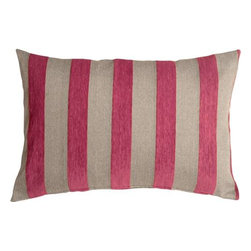 Pillow Decor - Pillow Decor - Brackendale Stripes Pink Rectangular Throw Pillow - Made from a beautiful and durable upholstery fabric, this rectangular throw pillow has bold vertical stripes in a black and gray weave alternating with soft raspberry pink chenille stripes. The contrasting texture of the stripes give this pillow depth and beauty.