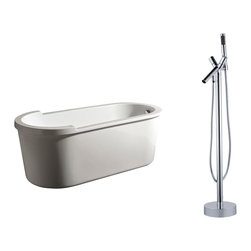 "AKDY - AKDY 67"" AK-ZF895+8711 Euro Style White Acrylic Free Standing Bathtub w/ Faucet, - AKDY free standing acrylic bathtubs come in many styles, shapes, and designs. The acrylic material used for tubs is very durable, light weight, and can be molded into a variety of shapes and styles which explain the large selection available in this product category. Acrylic free standing tubs are a cost efficient way to give your bathroom a unique beautiful touch. A bathtub is no longer just a piece of cast iron metal thrown into a bathroom by a builder."