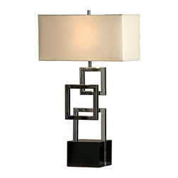 """Nova - Contemporary Nova Cuadros Gloss Black Table Lamp - The one-of-a-kind design of this table lamp features a base of stacked squares in shiny chrome and black nickel finishes set atop a black gloss finish wood stand. A rectangular white linen shade polishes off the look gracefully. A wonderful table lamp design from Nova Lighting. Wood and metal construction. Gloss black chrome and black nickel finishes. White linen shade. 6' black cord. 3-way switch. Takes one 75 watt bulb (not included). 31"""" high. Shade is 18"""" wide 8 1/2"""" deep and 9"""" high.  Wood and metal construction.    Gloss black chrome and black nickel finishes.   White linen shade.   6' black cord.   3-way switch.  Design by Nova Lighting.  Takes one 75 watt bulb (not included).   31"""" high.    Shade is 18"""" wide 8 1/2"""" deep and 9"""" high."""