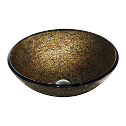 VIGO Industries - VIGO Textured Copper Glass Vessel Bathroom Sink - The VIGO Textured Copper glass vessel bowl is a glamorous addition to your home, featuring an elaborate textured design of sparkling copper and gold colors.