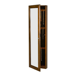 Holly & Martin - Holly & Martin Sophia Wall-Mount Jewelry Mirr - Double the function of stylish jewelry storage with a wall-mount mirror cabinet. It's warmly finished in espresso and can be attached above existing furniture or be an asset in smaller spaces. Felt-lined interior is roomy and frame locks for added security. * Behind this mirror is a cabinet designed to hold an array of jewelry. There is plenty of space and organizers to hold necklaces, bracelets, earrings and rings. This armoire has a distressed espresso finish with small wormwood imperfections to add character. The inner felt lining is black with a light grey ring holder and there is a small removable storage tray with 4 sections for smaller items. This unit also provides a keyed locking mechanism to make sure all of your valuables are secure and safe. Assembly: None Required. Material of construction: Solid Chinese Oak & Plywood, 5 mm. Mirror. 14.62 in. W x 48.12 in. H x 4.12 in. D.