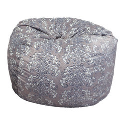 Great Deal Furniture - Ashley 3-Ft Grey Whimsical Pattern Fabric Bean Bag Chair - Lounge in style with the Ashley 3-foot grey fabric bean bag. This unique and plush fabric makes this an inviting piece for any adult or child. Its microfiber whimsical pattern fabric is soft to the touch and the neutral color will complement almost any decor. Made in the United States with an eco-friendly foam filler, this bean bag offers a luxurious and comfortable option to your in home lounging experience.