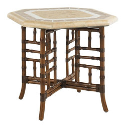 Lexington - Tommy Bahama Island Estate Veranda Side Table - The octagonal weather stone top paired with the X base leather wrapped rattan is a perfect pairing of color, textures, and style. This side table not only serves the purpose of additional surface area for beverages or display, but is beautiful in design too.