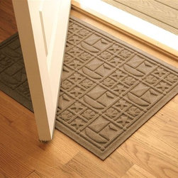 Bungalow Flooring - 24 in. L x 36 in. W Medium Brown Waterguard Nautical Mat - Made to order. Nautical design traps dirt, resists fading, rot and mildew. Indoor and outdoor use. 24 in. L x 36 in. W x 0.5 in. H
