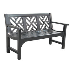 Innova Hearth & Home - Black Chippendale Bench - Spruce up your patio or yard with this regal bench that features a rust-free cast aluminum frame, a breathable slatted black and a serene profile.   Weight capacity: 500 lbs. 51'' W x 32'' H x 24.5'' D Seat: 16'' H Aluminum / steel Assembly required Imported