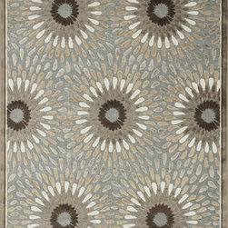 """Loloi Rugs - Loloi Rugs Halton Collection - Grey / Brown, 3'-10"""" Round - The colors are vivid and the transitional designs are appealing, but what really stands out in Halton is the details. Take a closer look (or zoom in) and you'll notice Halton was expertly designed with subtle shadings and intricate patterns to give it the appearance of a hand-crafted rug. Power loomed in Turkey, the viscose surface is raised against a chenille base, giving Halton an element of dimension and texture that adds character and enhances perceived value. Also, the viscose surface has an irresistible shimmer, which further adds to its sophisticated appearance."""