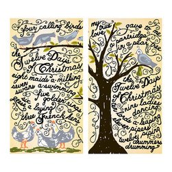 Matches - 12 Days of Christmas - Subtly festive with an exuberant, artistic charm, the 12 Days of Christmas Matches feature the lyrics of the classic carol written in a lavish, loopy script around an illustration of trees hosting sweet birds. This designer matchbox, which contains custom-tipped, safety-length wooden matches and is reusable, makes a delightful stocking stuffer or a lovely touch for a holiday guest room.