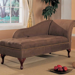 Coaster - Brown Transitional Chaise - This beautiful microfiber chaise lounger comes in two color options (brown and tan) to match any d?cor. Flip open seat for added storage space and is adorned with nailhead trim. Feet in cherry finish.