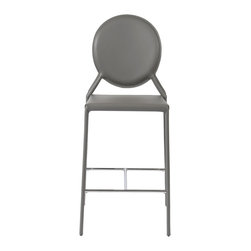 Eurostyle - Isabella-C Counter Chair (Set Of 2)-Gray - Regenerated leather seat, back and legs on steel frame