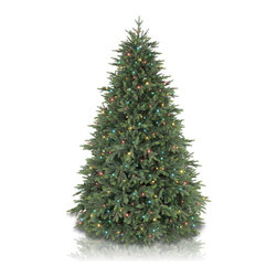"Balsam Hill - 7.5' Balsam Hill® Centennial Fir Pre-Lit Artificial Christmas Tree - The Centennial Fir artificial Christmas tree is one of our famous Instant Evergreen� trees that sets up in minutes. With branches that fan out automatically during setup, this instant tree will save you valuable time and effort compared to setting up and fluffing a traditional artificial tree. We've done all the hard work so that you can sit back and savor the beauty of the season. This 7.5 foot pre-lit easy setup tree will sparkle and dazzle with its Multi-Colored jeweled lights. Also included with this tree is a scratch-proof tree stand w/ rubber feet, soft cotton gloves for shaping the tree, ground stakes for staking the tree into the lawn as pathway trees, storage bags, extra bulbs and fuses, and an on/off foot pedal. As the best artificial Christmas tree manufacturer that is the #1 choice for set designers for TV shows such as ""Ellen"" and ""The Today Show"", in addition to being a recipient of the Good Housekeeping Seal of Approval, our trees are backed by a 10-year foliage warranty (depends on the size of the tree) and a 3-year light warranty. Free shipping when you buy today!"