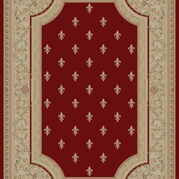 "Concord Global - Concord Global Imperial Fleur De Lys Red 2'3"" x 7'7"" Runner Rug (1240) - Rugs in the Imperial Collection are reproductions of the antique carpets that were made in Turkey, Iran and France. Their mellow tones are suited for any color scheme."