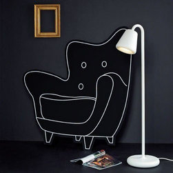 """Louis Poulsen - OJ Floor Lamp by Louis Poulsen - With its soft and rounded silhouette, the Louis Poulsen OJ Floor Lamp wryly resonates with cartoonish qualities. But the playful profile belies the rugged top-to-bottom steel construction. The curvatures of the thick pressed steel shade are designed to """"retain"""" the light, the creeping illumination gently wrapping itself around the curled lip of the shade. OJ channels most of its light downward, so despite the fact that the shade isn't adjustable, the angle of the light - and the on/off switch found on the stem - make it an excellent reading lamp option. When you hear the name Louis Poulsen, you think distinctive modern Danish lighting. From the classic icons of the 1920s to more recent pieces, all Louis Poulsen lighting is created based on a deep-felt respect for architecture, understanding the emotional effect of lighting and the belief that shadow is just as aesthetically important as light. All three aspects manifest themselves in the sculptural layering and comfortable, glare-free light of Louis Poulsen pendants, wall, table and floor lamps."""