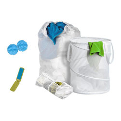 Honey Can Do - 5-Piece Laundry-for-Dummies Kit - Includes hamper, mesh laundry bag, hosiery wash bag, 2 piece fabric softening dryer balls and a travel pocket lint brush. Perfect all-in-one kit for all your laundry needs. Lifetime limited warranty. Made from polyvinyl, nylon mesh, steel wire and plastic. White finish. No assembly required. Spiral hamper: 14 in. Dia. x 19 in. H. Mesh laundry bag: 24 in. W x 36 in. H. 15.75 in. W x 4.50 in. D x 17.25 in. H (4 lbs.)This 5-piece set is an extremely good value over purchasing all of these laundry items separately. Makes a great housewarming, bridal shower, or off-to-college gift.