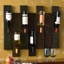Holly & Martin - Santa Cruz Wall Mount Wine Rack - Ideal for your kitchen, dining or even living room. Holds upto 7 bottles of wine. Hangs easily. Made from metal. Distressed earth tone finish. 32 in. W x 8 in. D x 27.25 in. H (14 lbs.)This artistic wine rack is both beautiful and functional. Whether you are a frequent entertainer or just a wine enthusiast, this wonderful piece is sure to be a welcome addition to your home.