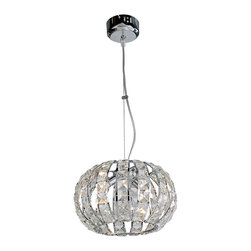 Bromi Design - Bromi Design Infinity 2-Light Crystal Pendant - You'll think diamonds are dropping from the sky when you hang this gorgeous sophisticated pendant light. Elegant with just the right touch of bling, the chrome and steel frame will refract the lights, adding sparkle to everything around you.
