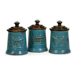 IMAX Worldwide Home - Provincial Canisters - Set of 3 - Adorable Teal glazed ceramic provincial coffee.  tea.  sugar canisters with mango wood lids. Containers-Ceramic. 7 in. H x 5 in. D. Food safe. 85% Ceramic, 15% Pinewood