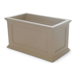 "Mayne Inc. - Fairfield Patio Planter 20x36 Clay - Have the look of wood without the upkeep with our high-grade polyethylene planters. Long-lasting beauty, durability and quality.  Built-in water reservoir encourages healthy plant growth by allowing plants to practically water themselves. Beautiful New England design adds a charming touch to any patio or deck. Our molded plastic planters are made from high-grade polyethylene, double wall design. Sub-irrigation water system, encourages root growth. Inside dimensions are 31""L x 15.5""W x 13""D, approximately 22 gallon soil capacity, water capacity is approximately is 16 gallons (60 litres)."
