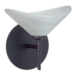 Besa Lighting - Hopi Marble Bronze Sconce - - The Hoppi pendant features a wide cone-shaped glass, that demonstrates contemporary sensibilities. Our Marble glass is a pressed glass that features swirls of white throughout semi-translucent frost, to create a faux alabaster appearance. When lit this gives off a light that is functional and soothing. The smooth satin finish on the clear outer layer is a result of an extensive etching process. This handcrafted glass uses a process where every glass is consistently produced using a press mold, keeping variations to a minimum. The mini sconce is equipped with a decorative lamp holder mounted to either a low profile round or square canopy. These stylish and functional luminaries are offered in a beautiful brushed Bronze finish.  - Bulbs included: Yes  - Canopy/Fitter Height: 5-inches  - Canopy/Fitter Diameter/Width: 5-inches  - Height from center: 4  - : NOTICE: Due to the artistic nature of art glass, each piece is uniquely beautiful and may all differ slightly if ordering in multiples. Some glass decors may have a different appearance when illuminated. Many of our glasses are handmade and will have variances in their decors. Color, patterning, air bubbles and vibrancy of the d�cor may also appear differently when the fixture is lit and unlit. Besa Lighting - 1SW-191352-BR