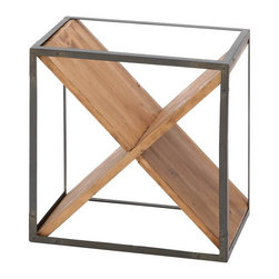 Benzara - Sheet Metal Wood Wine Rack 16in.H, 15in.W - Size: 15 in. x11 in. x16 in.  Made with solid wood and iron alloy