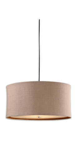Uttermost - Alamo 3-Light Burlap Drum Pendant - Cast a big pool of light in your space with this three-light, drum-shaped hanging pendant. In a dark corner, you can snuggle up in a comfortable chair and read for hours beneath its warm, inviting glow.