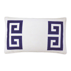 "NECTARmodern - Parenthetikey (navy) embroidered greek key lumbar throw pillow 20"" x 12"" - Sophisticated and minimal, an alternative take on the traditional Greek Key motif. White linen with blue applique and embroidery edge detail. Designer quality cover with overstuffed feather/down insert."