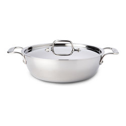 All-Clad - All-Clad Tri-Ply Stainless Steel 3 qt. Cassoulet w/Lid (421349) - The versatile cassoulet features deep sides to easily accommodate soups, stews and casseroles. The rounded bottom is the ideal shape for easy stirring and whisking. Convenient side handles make stovetop to table service effortless while the cassoulet's handsome design makes the pan a welcome addition to any table. Lifetime warranty from All-Clad with normal use and proper care. Made in the USA! Lifetime warranty from All-Clad with normal use and proper care. Made in the USA!