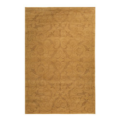 Frontgate - Chandler Area Rug - Woven from a luxurious wool and silk blend. Hand-knotted for a durable, plush pile. 100 knots per sq. in. give this rug a wonderfully fine weave that is soft to the touch. The Chandler Area Rug by Safavieh uses an ancient Tibetan weaving technique along with luxurious wool and silk yarns. Defined by a mirrored scrolling pattern almost hidden within the weave, the rug warms your room with neutral earth tones complemented with muted tonal accents.. . . Imported.