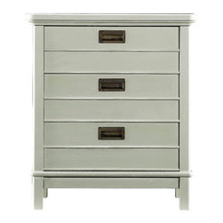 Stanley Furniture - Coastal Living Resort Cape Comber Chairside Chest - Urchin Finish - The nautical allusions are strong in our Cape Comber Chairside Chest. The three-drawer occasional table harkens to captain's quarters because of its inset metal drawer pulls. Not too flashy, this is one sturdy, hardworking chest that is adaptable to so many situations, you may find yourself wanting one in every room. Made to order in America.
