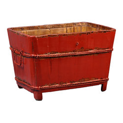 Antique Revival - Red Luanne Sink Bucket - The rectangular shape of this vintage wooden sink and carrier bucket makes it a uniquely interesting piece for your kitchen, patio or any room. The iron handles and banding add a country, rustic touch, and the bright red paint brings in a splash of color.