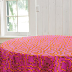 Grandin Road - Quatrefoil Table Topper - Designer cloths that add exuberant color to your table décor. Pink and orange quatrefoil print with pompom trim. Looks great layered over a white tablecloth. Imported. Layer our Quatrefoil Table Toppers over a neutral cloth, and your setting acquires a festive new energy. Created by Donna Stevens, each has a vivid pink and orange design, with joyful pompom trim. Designer cloths that add exuberant color to your table decor .  .  .  .