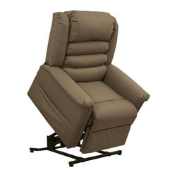"Catnapper - Catnapper Invincible Power Lift Full Lay-Out Chaise Recliner Chair in Cocoa - Catnapper - Recliners - 4832258218 -The ""Power Lift"" Full Lay-Out Chaise Recliner from Invincible Collection by Catnapper brings reclining comfort and assists to a standing position. This great lift chair is available in three color options: cocoa, cabernet, and deep sapphire. This chair offers full lay-out comfort, very comfortable waterfall back design, and bleach cleanable hospital grade vinyl upholstery. Sturdy and durable steel box allows 350 lb. weight capacity. To disinfect it is suggested to use a mixture of 4 parts water to 1 part household bleach."