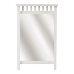 Home Decorators Collection - Deerfield Mirror - Our Deerfield Mirror is constructed of solid wood. It features classic straight lines and an eyecatching top border of short, vertical square rods. Simple and stylish, our Deerfield furniture exemplifies the Arts and Crafts tradition. Solid wood and tempered glass. Your choice of finish.