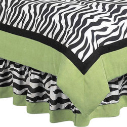 "Sweet Jojo Designs - Green Zebra Bedskirt Queen - The Green Zebra Bed Skirt by Sweet Jojo Designs helps complete the look of your room. This skirt, or dust ruffle, adds the finishing touch while conveniently hiding under-the-bed storage.The lovely bed skirt is available in a Toddler Size and Queen Size. The Toddler Bed Skirt Dimensions are 28""x52"" with 10"" drop. The Queen Bed Skirt Dimensions are 80in. x 59in. with a 14.5in drop."