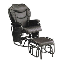 "Acme - Black Glider Recliner Swivel Chair and Ottoman - Black glider recliner swivel chair and ottoman. This set includes a Black finish vinyl padded glider / recliner / swivel chair and glider padded ottoman. Chair measures 36.5"" x 27.75"" x 42.75"" H. ottoman measures 18.5"" x 15"" x 15.25"" H. Some assembly required."