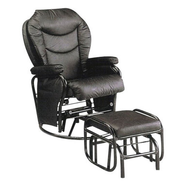 """ACMACM08154 - Black Glider Recliner Swivel Chair and Ottoman - Black glider recliner swivel chair and ottoman. This set includes a Black finish vinyl padded glider / recliner / swivel chair and glider padded ottoman. Chair measures 36.5"""" x 27.75"""" x 42.75"""" H. ottoman measures 18.5"""" x 15"""" x 15.25"""" H. Some assembly required."""