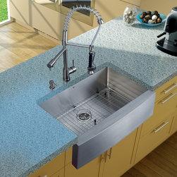Vigo Industries - Platinum Farmhouse Kitchen Sink with Dispenser - Includes stainless steel kitchen sink, stainless steel kitchen faucet, matching grid, strainer and stainless steel soap dispenser and all mounting hardware